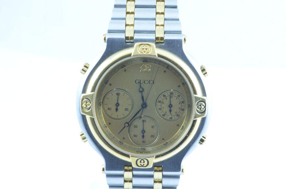 gucci damen uhr quartz chronograph stahl gold rar 34mm ebay. Black Bedroom Furniture Sets. Home Design Ideas
